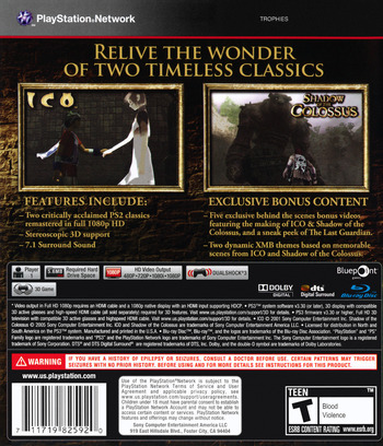 The ICO & Shadow of the Colossus Collection PS3 backM (BCUS98259)