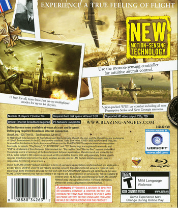 Blazing Angels: Squadrons of WWII PS3 backM (BLUS30006)