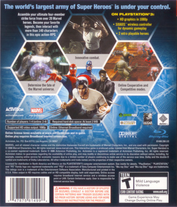 Marvel: Ultimate Alliance PS3 backM (BLUS30010)
