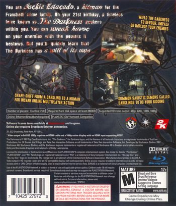 The Darkness PS3 backM (BLUS30035)