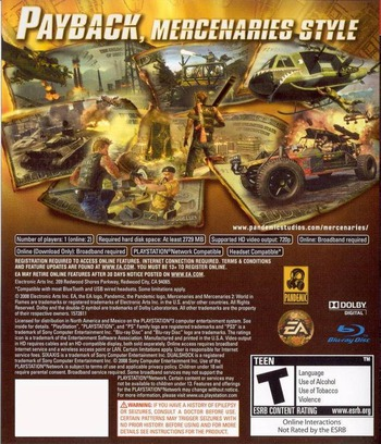 Mercenaries 2: World in Flames PS3 backM (BLUS30056)