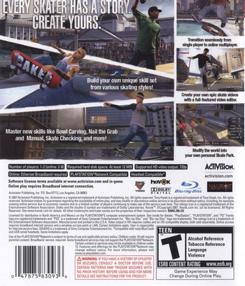 Tony Hawk's Proving Ground PS3 backM (BLUS30071)