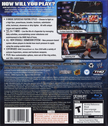 WWE SmackDown vs. Raw 2008 PS3 backM (BLUS30082)