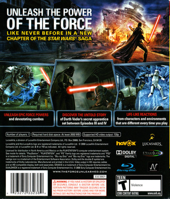 Star Wars: The Force Unleashed PS3 backM (BLUS30144)