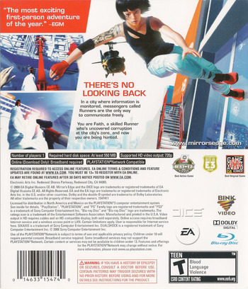 Mirror's Edge PS3 backM (BLUS30179)