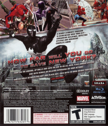 Spider-Man: Web of Shadows PS3 backM (BLUS30218)