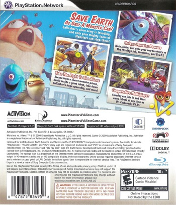 Dreamworks' Monsters vs. Aliens PS3 backM (BLUS30273)
