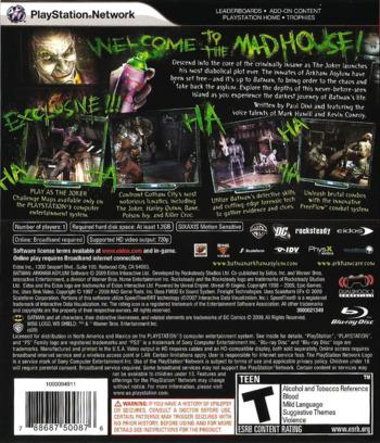 Batman: Arkham Asylum PS3 backM (BLUS30279)