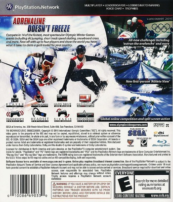 Vancouver 2010: The Official Video Game of the Olympic Games Array backM (BLUS30344)