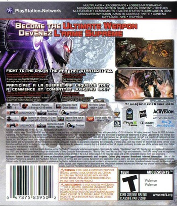Transformers: War for Cybertron PS3 backM (BLUS30357)