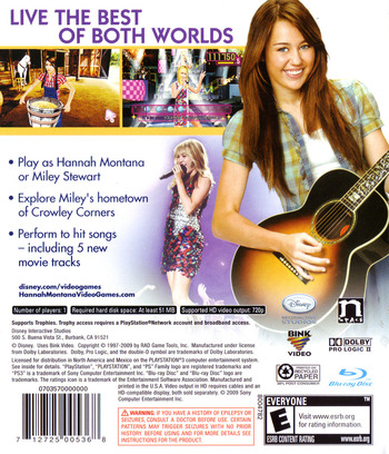 Hannah Montana: The Movie PS3 backM (BLUS30365)