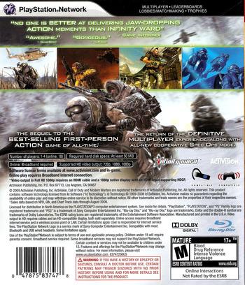 Call of Duty: Modern Warfare 2 PS3 backM (BLUS30377)