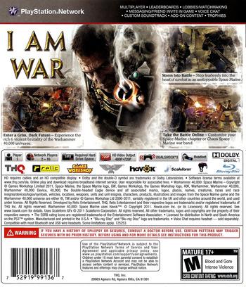 Warhammer 40000: Space Marine PS3 backM (BLUS30432)