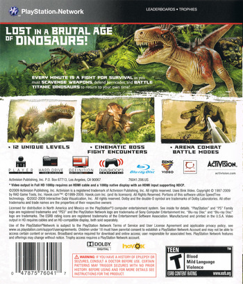 Jurassic: The Hunted PS3 backM (BLUS30435)