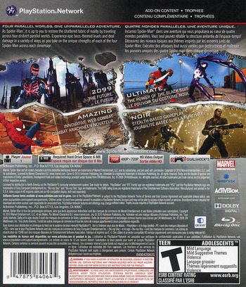 Spider-Man: Shattered Dimensions PS3 backM (BLUS30499)