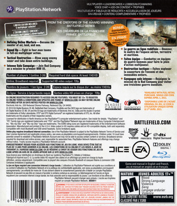 Battlefield: Bad Company 2 Limited Edition PS3 backM (BLUS30517)