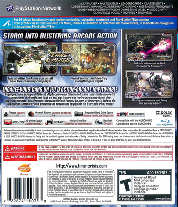 Time Crisis: Razing Storm PS3 backM (BLUS30528)