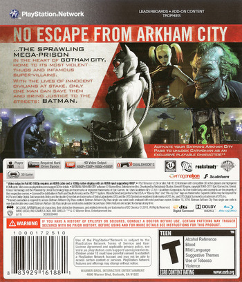 Batman: Arkham City PS3 backM (BLUS30538)