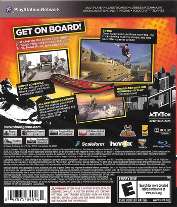Tony Hawk: Shred PS3 backM (BLUS30542)