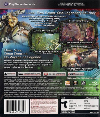 Enslaved: Odyssey to the West PS3 backM (BLUS30558)