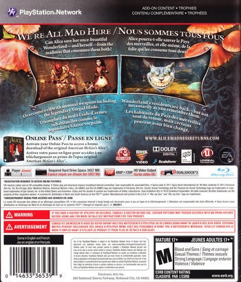 Alice: Madness Returns PS3 backM (BLUS30607)