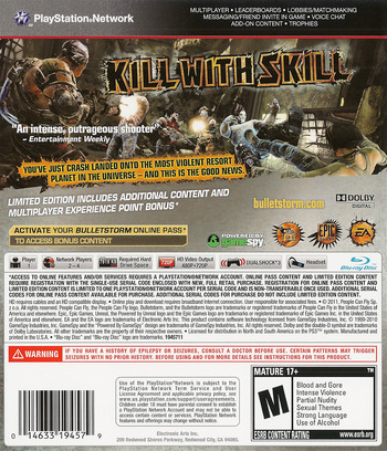 Bulletstorm PS3 backM (BLUS30651)