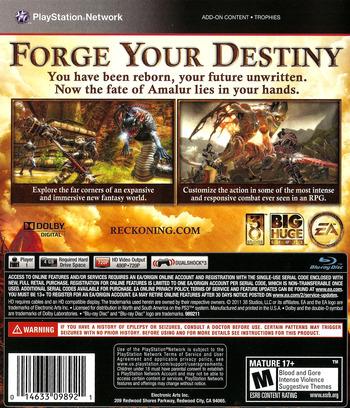 Kingdoms of Amalur: Reckoning PS3 backM (BLUS30710)