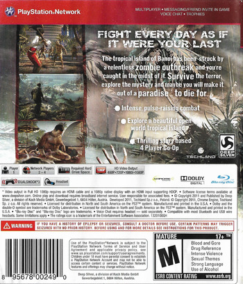 Dead Island PS3 backM (BLUS30790)