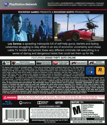 Grand Theft Auto V PS3 backM (BLUS31156)