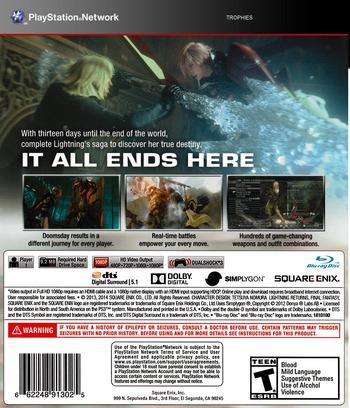 Lightning Returns: Final Fantasy XIII PS3 backM (BLUS31164)