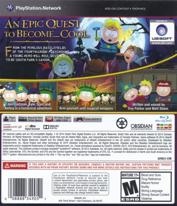 South Park: The Stick of Truth PS3 backM (BLUS31191)