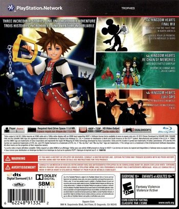Kingdom Hearts HD 1.5 ReMIX PS3 backM (BLUS31212)
