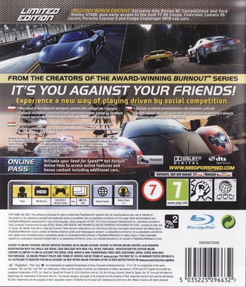 Need for Speed: Hot Pursuit (Limited Edition) PS3 backM (BLES00950)