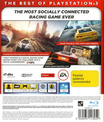 Need for Speed: Most Wanted PS3 backM2 (BLES01659)