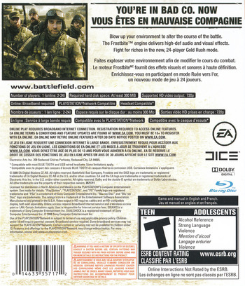 Battlefield: Bad Company PS3 backM2 (BLUS30118)