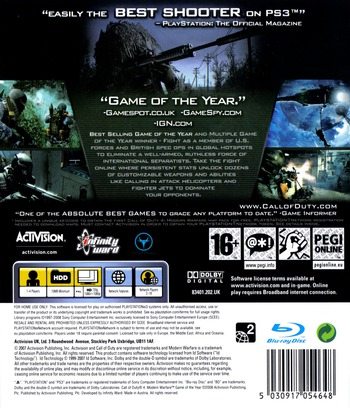 Call of Duty 4: Modern Warfare PS3 backMB (BLES00148)
