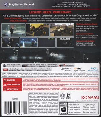 Metal Gear Solid V: Ground Zeroes PS3 backMB (BLUS31369)
