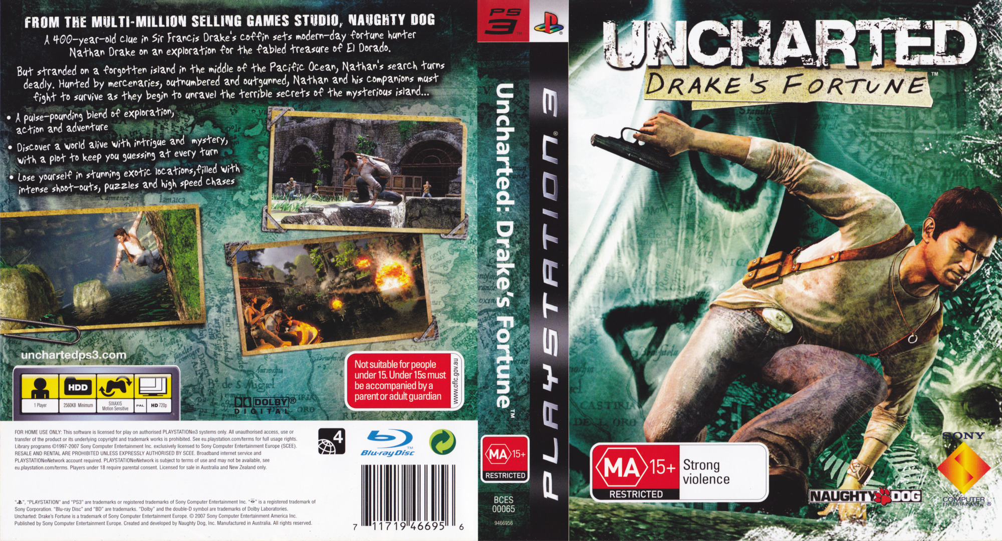 Uncharted: Drake's Fortune PS3 coverfullHQ (BCES00065)