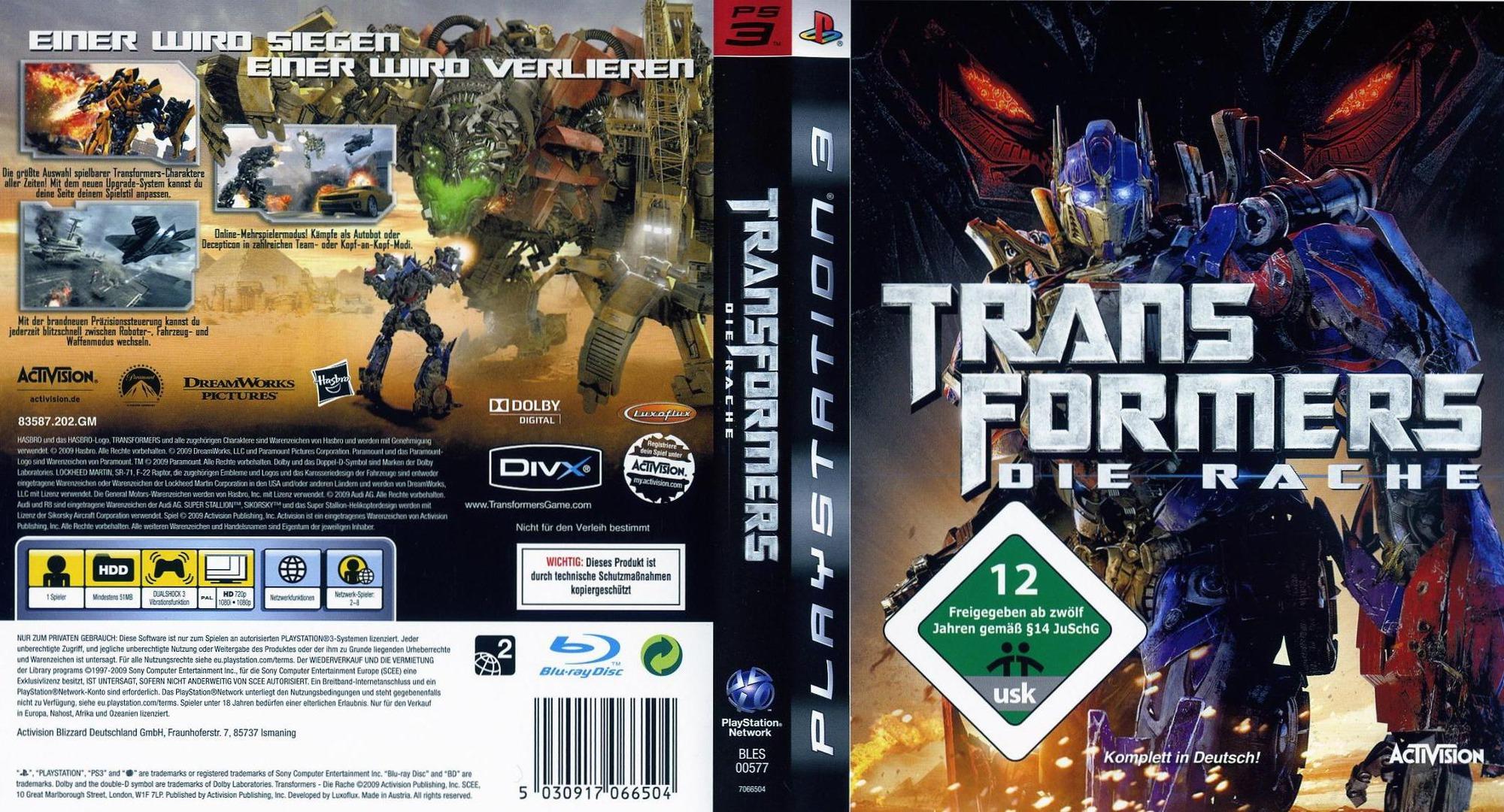Transformers: Die Rache PS3 coverfullHQ (BLES00577)
