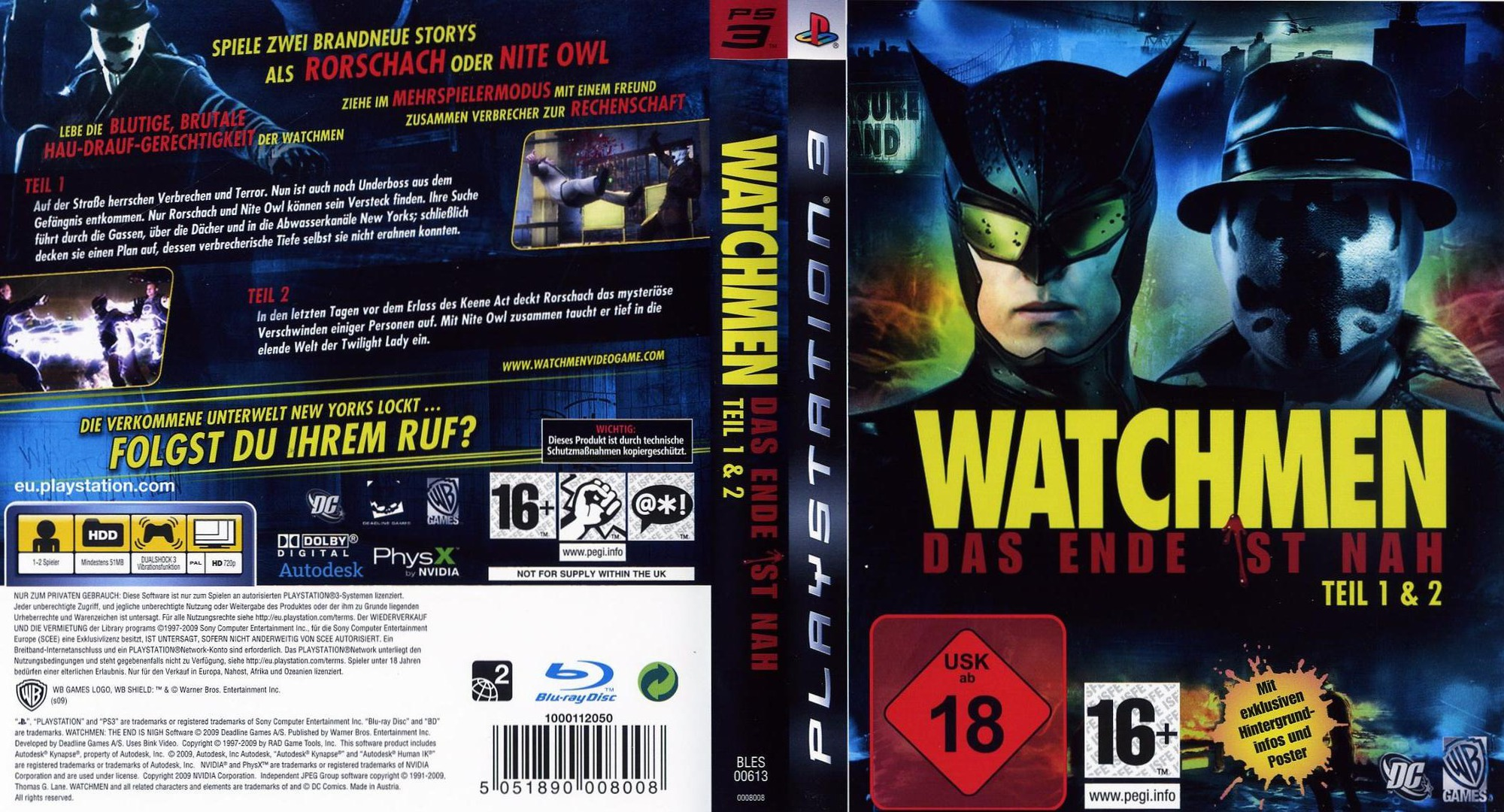 Watchmen: Das Ende Ist Nah - Tail 1&2 PS3 coverfullHQ (BLES00613)