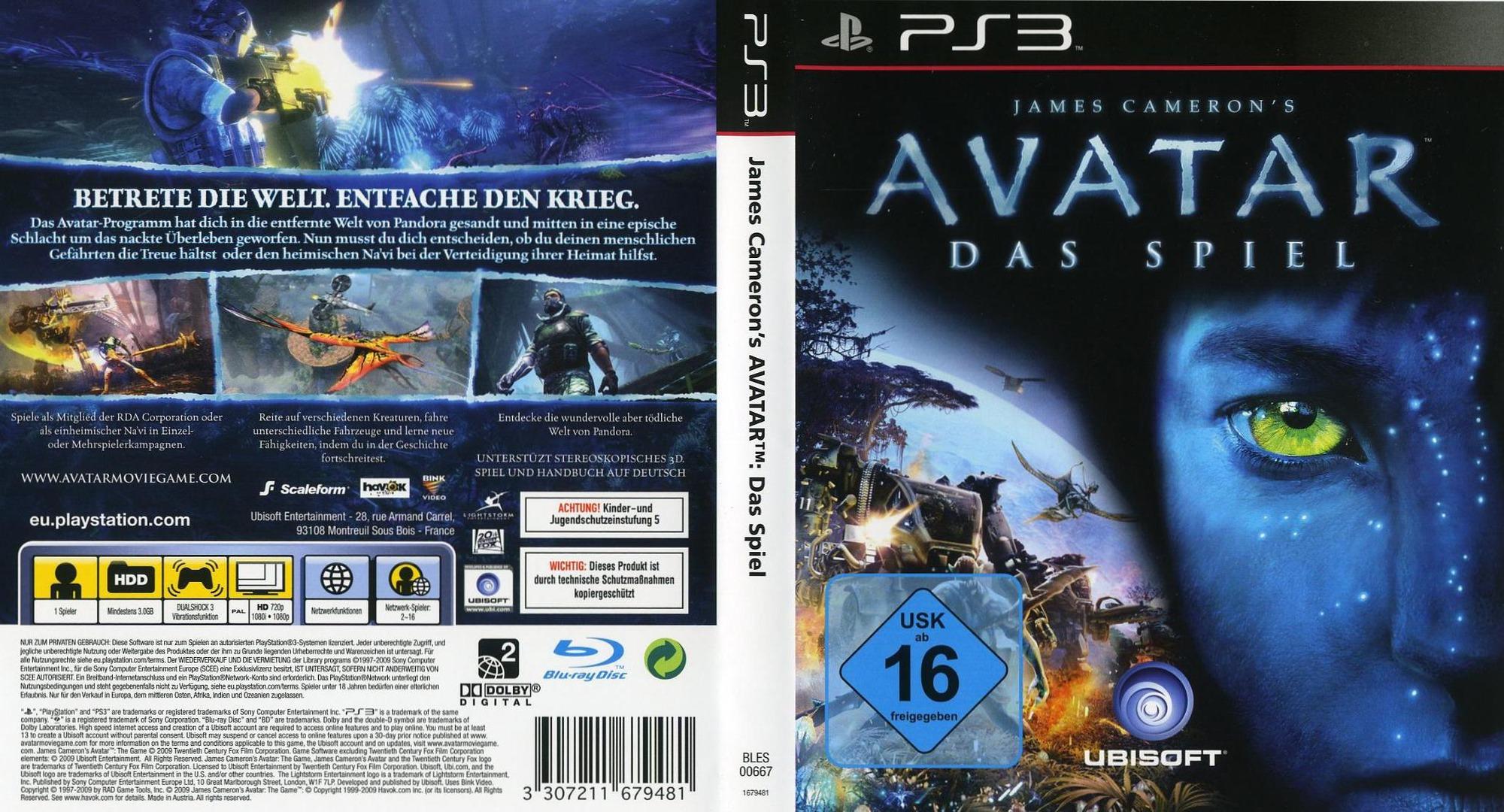 Avatar: Das Spiel PS3 coverfullHQ (BLES00667)