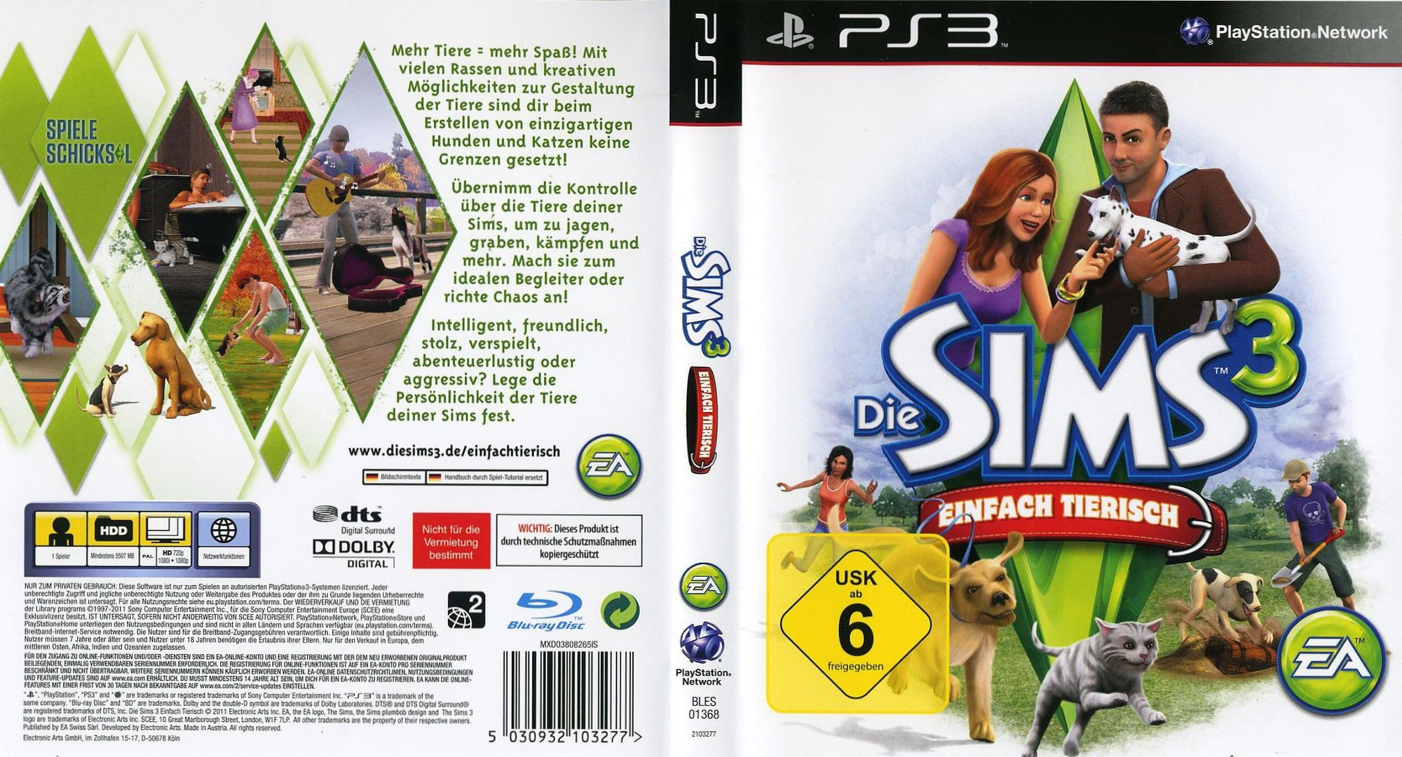 The Sims 3: Einfach Tierisch PS3 coverfullHQ (BLES01368)