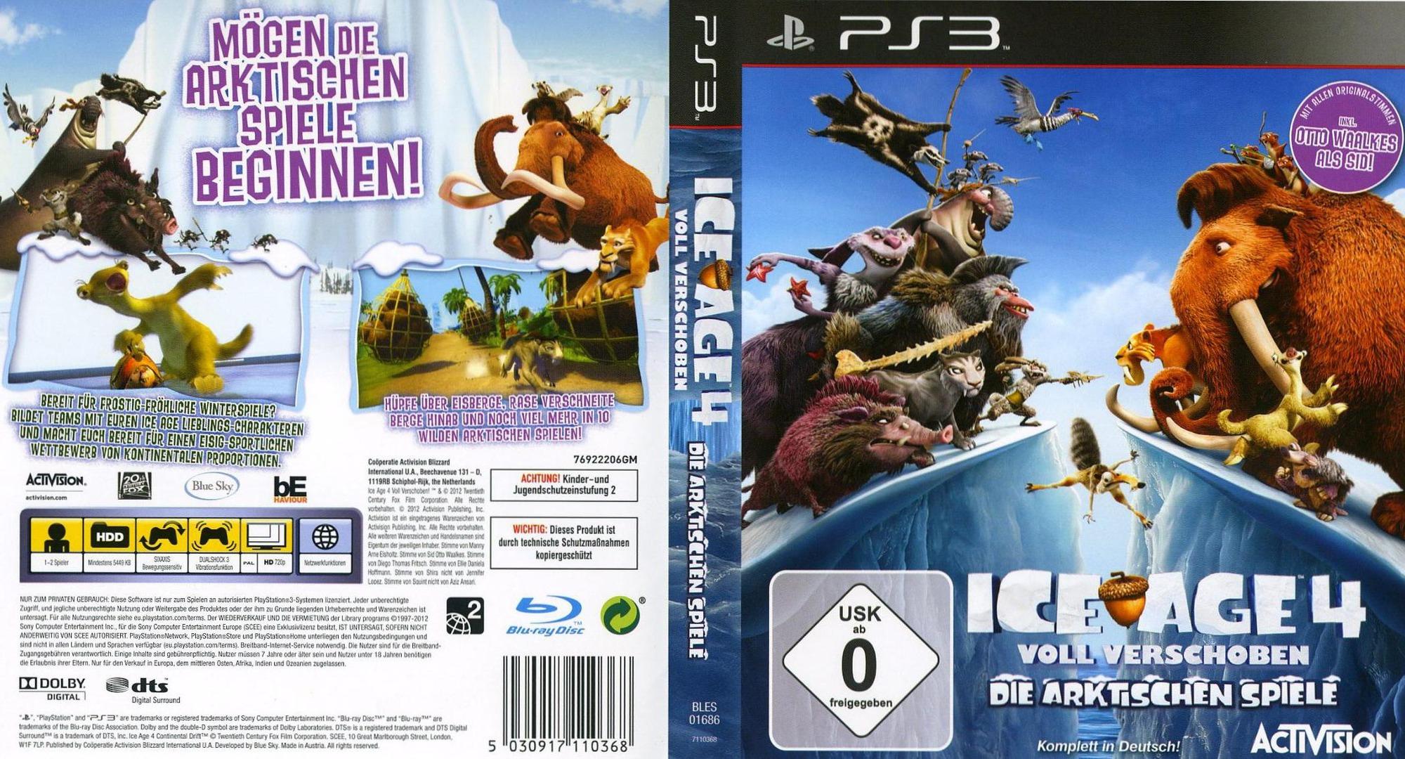 Ice Age 4: Voll Verschoben - Die Arktischen Spiele PS3 coverfullHQ (BLES01686)