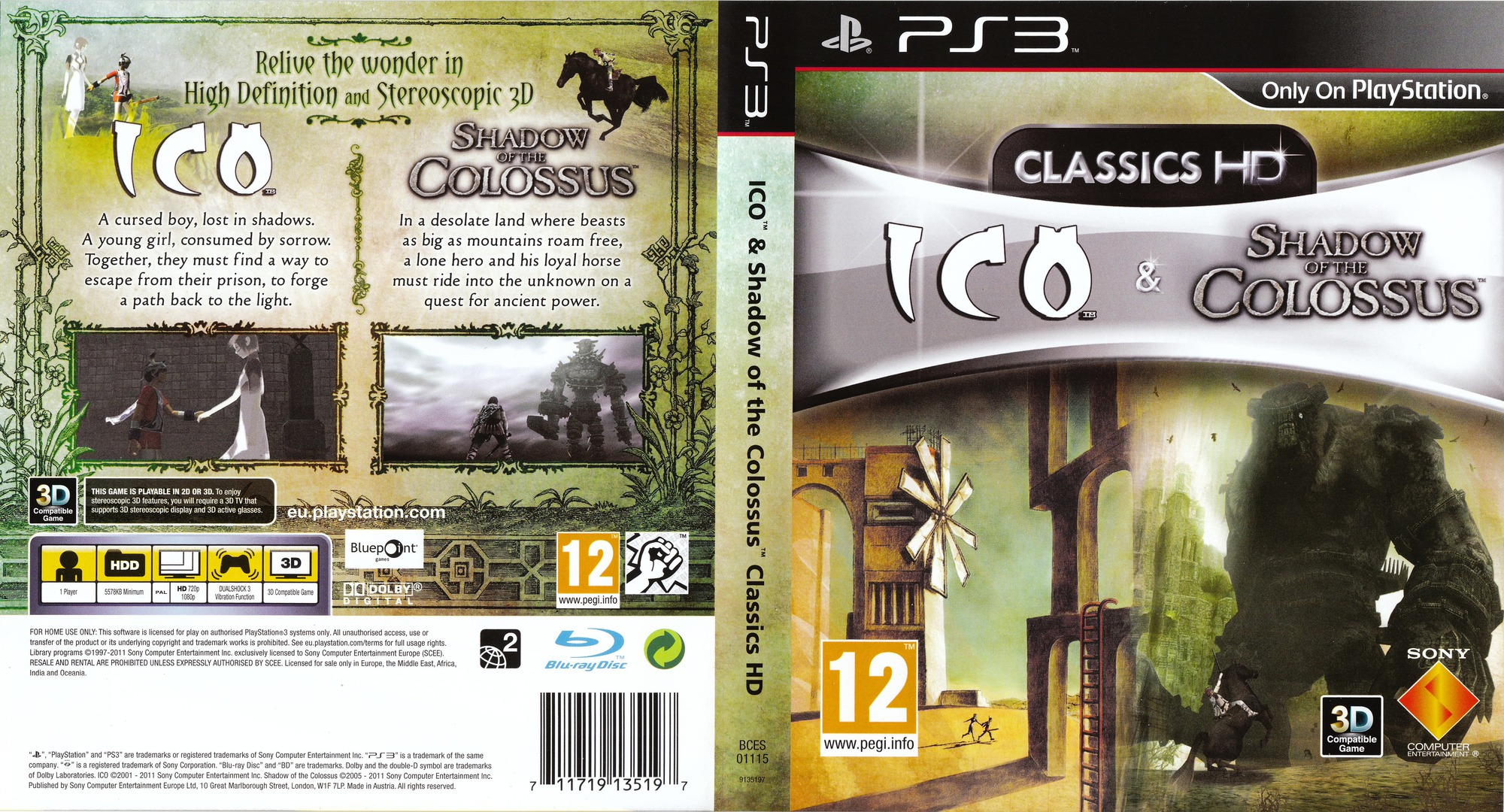 The ICO & Shadow of the Colossus Collection PS3 coverfullHQ (BCES01115)