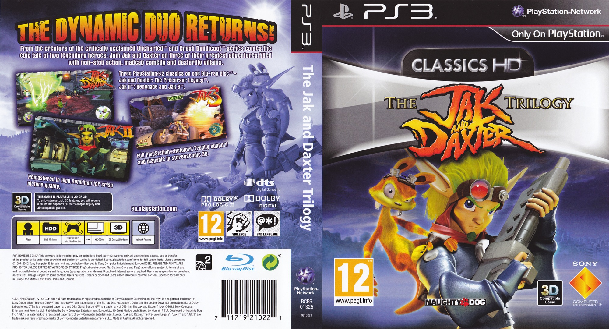 Jak & Daxter The Trilogy PS3 coverfullHQ (BCES01325)