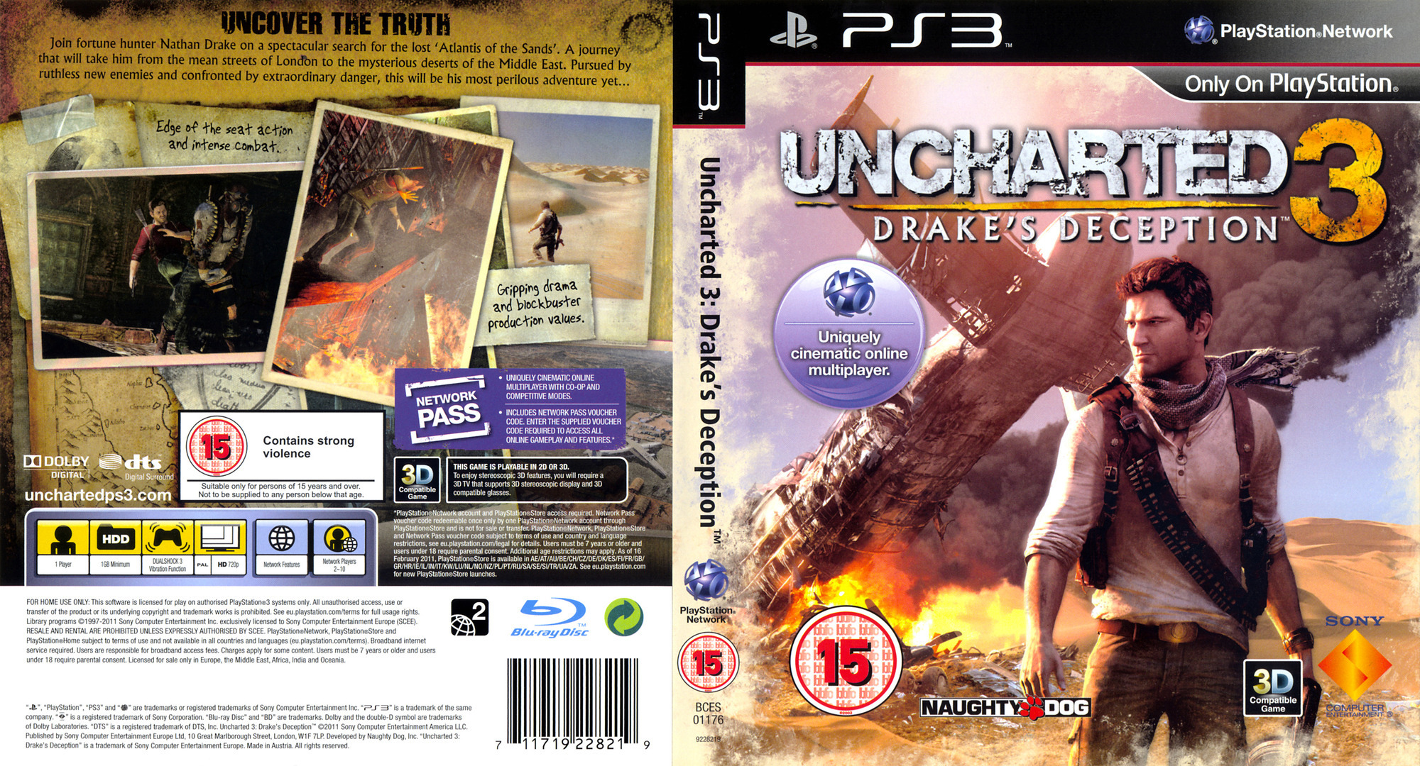 Uncharted 3: Drake's Deception (Game of the Year Edition) PS3 coverfullHQ (BCES01670)