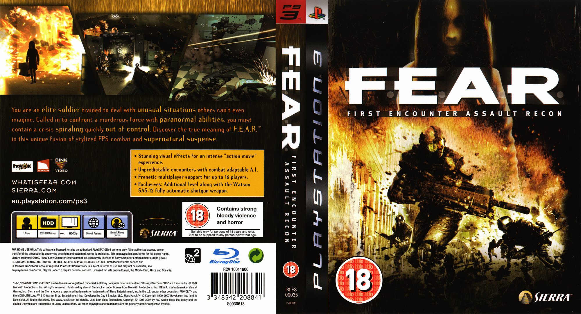 F.E.A.R.: First Encounter Assault Recon PS3 coverfullHQ (BLES00035)