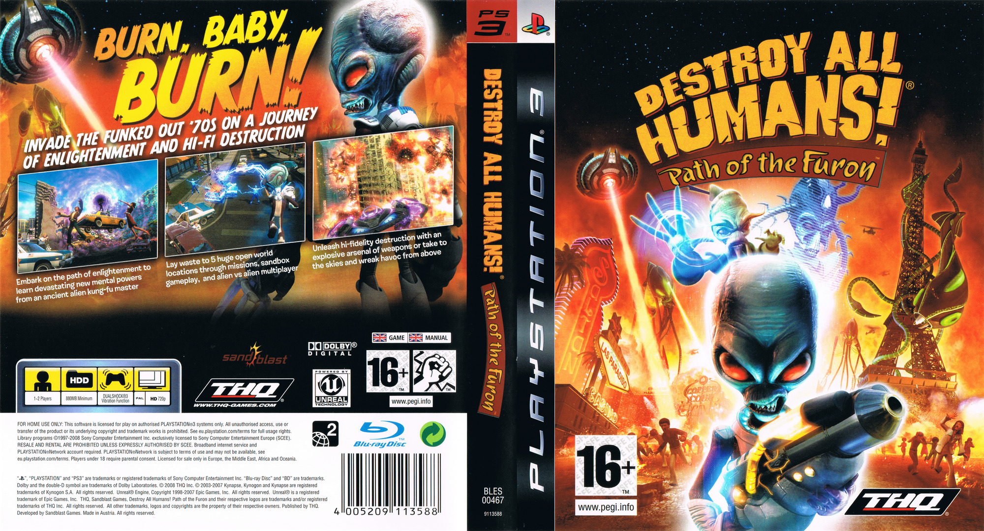 Destroy All Humans! Path of the Furon PS3 coverfullHQ (BLES00467)
