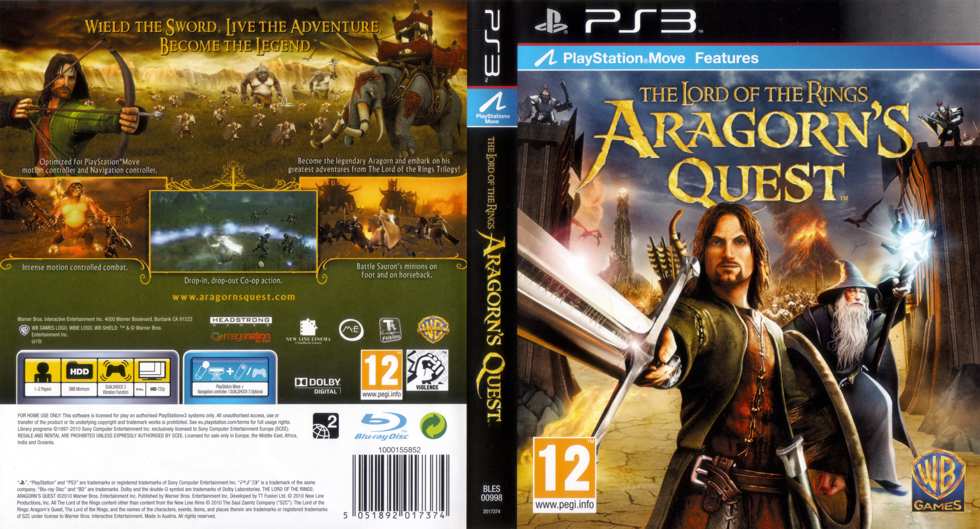 The Lord of the Rings: Aragorn's Quest PS3 coverfullHQ (BLES00998)
