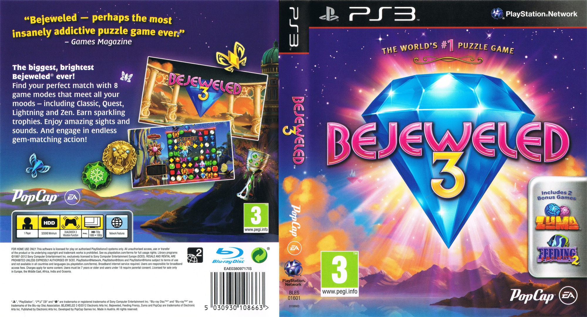 Bejeweled 3 PS3 coverfullHQ (BLES01601)